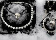 Frostkristaller collié, armband, berlock, örknopp